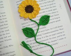 Handmade  Crochet   Sunflower  3D  Bookmark,Bookmarks,Scrapbooking,Books,Bible