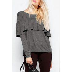 Stylish Jewel Neck Long Sleeve Flounced Solid Color Women's T-Shirt