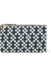 Clare VPrinted linen-canvas clutch