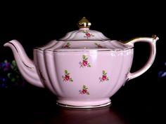 Sadler Pink Chintz Teapot, Shabby Rosebud Transferware, Vintage Tea Pot 13748