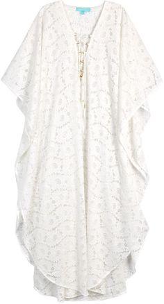 9058b218597a0 Melissa Odabash Rebecca off white lace kaftan White Kaftan, Melissa  Odabash, White Lace,