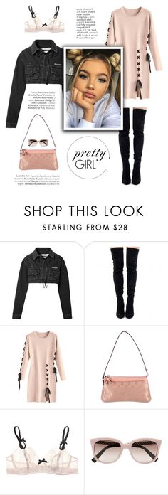 """Pretty girl"" by little-vogue ❤ liked on Polyvore featuring Off-White, Gucci, Elle Macpherson Intimates, Christian Dior, Pink, pretty, fashionset and polyvoreeditorial"