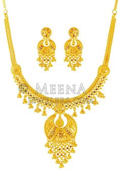 22K Gold Necklace And Earrings Set ( 22 Kt Gold Sets )