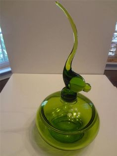 Viking Glass Long Tailed Bird Covered Candy Dish Green #Viking