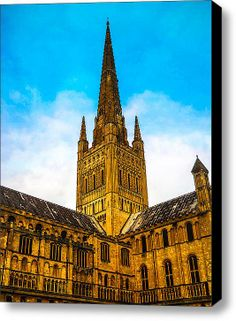 Norwich Cathedral Stretched Canvas Print / Canvas Art By Gary Walker
