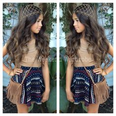 Model Khia Lopez wearing our new Aztec skater skirt with new tan crop top