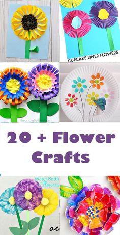 20 plus flower kid crafts - acraftylife.com #preschool #craftsforkids #crafts #kidscraft