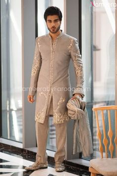 Buy Men's Sherwani-Latest Designer Sherwani for Men's in Gray Color-Men's Wear With Dabka, Zari, Embroidery Work In USA, UK, Canada, Australia Visit Now : www.NameerabyFarooq.com or Call / Whatsapp : +1 732-910-5427 Work In Usa, Mens Sherwani, White Embroidery, White Fabrics, Modern Fashion, Dress Making, Party Wear, Ready To Wear, Gray Color