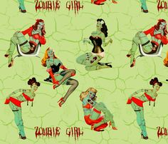 zombie Pin Ups fabric! costume idea inspiration for Tiki Oasis, Monster Island!  Spoonflower - custom fabric