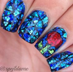 Shattered glass nails, glitter placement nail art, stained glass