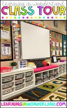 Learning in Wonderland Classroom Tour - classroom organization - Kindergarten Classroom Setup, Classroom Decor Themes, Classroom Organisation, First Grade Classroom, Classroom Design, Classroom Décor, Future Classroom, Classroom Storage Ideas, Classroom Mailboxes