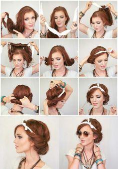 New Hair Styles Short Retro Beauty Ideas Scarf Hairstyles, Pretty Hairstyles, Wedding Hairstyles, Teenage Hairstyles, Hair With Bandana, Bandana Hairstyles For Long Hair, Bohemian Hairstyles, Simple Hairstyles, Latest Hairstyles