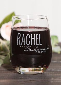 Personalized stemless wine glass for a cute bridesmaid gift. Unique Wedding Gifts, Gifts For Wedding Party, Diy Wedding, Wedding Favors, Wedding Bells, Wedding Stuff, Wedding Ideas, Cute Bridesmaids Gifts, Bridesmaid Glasses