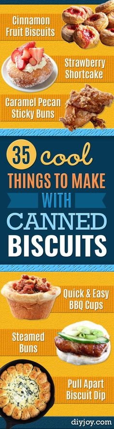 Best Canned Biscuit Recipes - Cool DIY Recipe Ideas You Can Make With A Can of Biscuits - Easy Breakfast, Lunch, Dinner and Desserts You Can Make From Pillsbury Pull Apart Biscuits - Garlic, Sour Crea (Quick Easy Meal With Ground Beef) Canned Biscuits, Homemade Biscuits, Baking Biscuits, Frozen Biscuits, Tea Biscuits, Buttermilk Biscuits, Good Food, Yummy Food, Delicious Meals