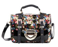 Nicole Lee Black Leather Handbag 2013 Trend - Glossy Floral Satchel, Brief or Shoulder Bag - Black