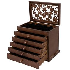 390c90cb9 SONGMICS Large Jewelry Organizer Wooden Storage Box 6 Layers Case with 5  Drawers Gift for Mom