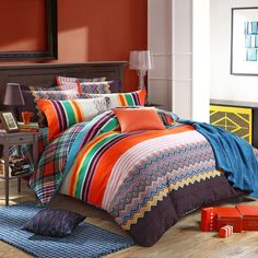 Orange Brown and Green Colorful Aztec Stripe Print Fashion and Hipster Style Personalized 100% Brushed Cotton Full, Queen Size Bedding Sets