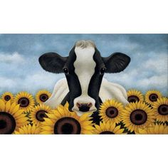 Image Conscious Surrounded by Sunflowers by Lowell Herrero Holstein Cow Art Print Poster Cute Canvas Paintings, Easy Canvas Painting, Painting Prints, Painting & Drawing, Canvas Art, Art Prints, Big Canvas, Back Painting, Canvas Prints