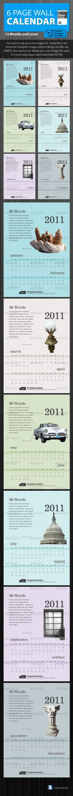 Wall calendar 2011 [6 Page] Print Ready  - Calendars Stationery