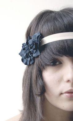 Navy blue floral elastic headband by ModaMakovera on Etsy, $28.00