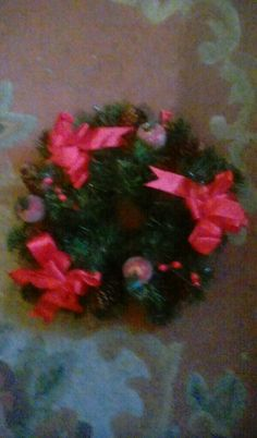 Handmade red table wreath