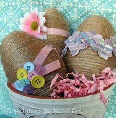 rustic twine-wrapped Easter eggs
