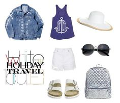 """Holiday Travel : White & Blue"" by salsabilaaa25 on Polyvore featuring Topshop, Birkenstock, Brooks Brothers and holidaystyle"
