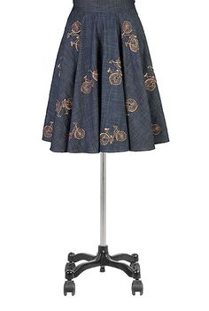 So cute! I want this to wear while I tootle around on my little vintagey bike! Bicycle embellished chambray full skirt