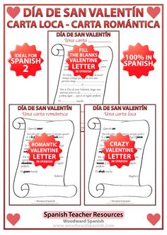 Spanish Valentine's Day Letters Activity - Spanish Teacher Resources - La carta romántica y la carta loca.