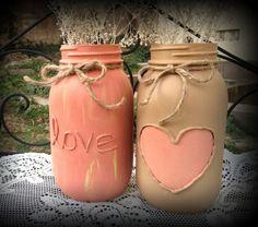 Painted mason jars love valentines day mason jars by QUEENBEADER, $21.00