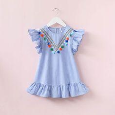 Cool Hurave girls dress girl clothing tassel dress for girl striped robe fille ruffles kids clothing beautiful blue vestidos - $ - Buy it Now!