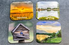 Wedding Party Gifts - Wooden Scenic and/or Wildlife coasters , set of 4, Personalize, wood, best selling items, trending now, home accents by PicturesFromHeaven on Etsy