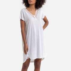 Plus Size Pajamas, Short Sleeves, Short Sleeve Dresses, Pajamas Women, Pyjamas, Nightwear, Lace Trim, Gray Color, Shirt Dress