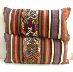 Kilim Lumbar Pillows SET OF 2 Turkish Bolster by SophiesBazaar, $96.00.... pretty crazy price for two pillows, but theyre beautiful