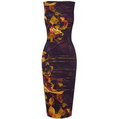 Bqueen Pencil Dress in Purple Floral Print K517E - Designer Shoes Bqueenshoes.com