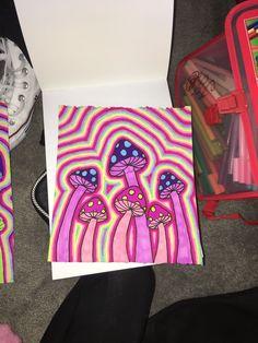 hippie painting ideas 861172759986256213 - Mushroom doodle Source by claaraabok Simple Canvas Paintings, Easy Canvas Art, Small Canvas Art, Mini Canvas Art, Canvas Ideas, Art Paintings, Easy Art, Psychedelic Drawings, Trippy Drawings