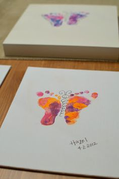 Butterfly prints with baby's feet... sweet idea!...     I TOTALLY LIKE THIS BODY WAAAY BETTER....WE NEED TO DO ANOTHER ONE...FORSURE ...