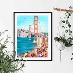 San Francisco Golden Gate Bridge Printable Digital Download   Etsy Printing Services, Online Printing, Colorful Wall Art, Landscape Prints, Surreal Art, Golden Gate Bridge, Wall Colors, Printable Wall Art, Altered Art