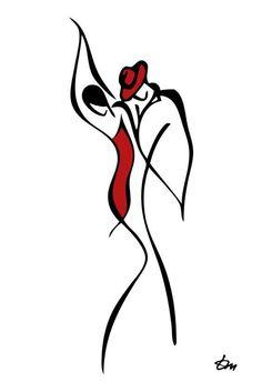 Idéia para tatuagem de casal. Homem e mulher dançando tango.
