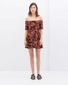 ZARA - NEW THIS WEEK - PRINTED OFF-SHOULDER DRESS