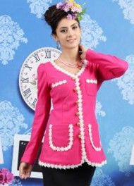 Wholesale Seasonal & Youthful Single-breasted Mixed Colors Slim Long Coat----Rose-red top dresses