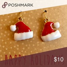 SANTA HAT DANGLE EARRINGS NWT! Super cute and perfect for the holidays! Francesca's Collections Jewelry Earrings