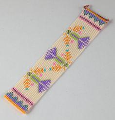 Autumn Thistle Bead Loom Bracelet Artisanal by PuebloAndCo Peyote Patterns, Loom Patterns, Beading Patterns, Bead Loom Bracelets, Woven Bracelets, Chevron Friendship Bracelets, Loom Beading, Bead Weaving, Loom Bracelets