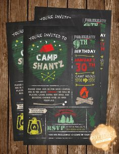 Invitation Design, Camp Themed Birthday Party, Chalkboard styled, great for outdoor themed events and party's like, lumberjack, nature, camping, woods, forest, and so much more