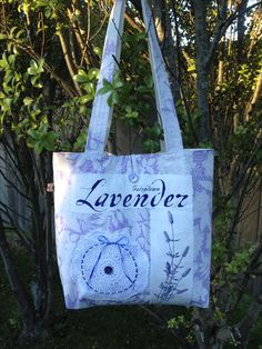Fabric lavender-themed  tote bag, with a vintage doily, handmade by Pintrish