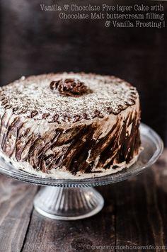Chocolate and Vanilla Five Layer Cake