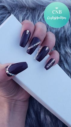Items similar to Dark Purple Nails with Rhinestones ~Fake Nails ~Press on nails ~Glue on nails ~Rhinestones ~Hand painted~ Custom made ~Dark Purple on Etsy Cute Acrylic Nails, Glue On Nails, Cute Nails, Pretty Nails, My Nails, Long Nails, Short Nail Designs, Nail Art Designs, Dark Purple Nails