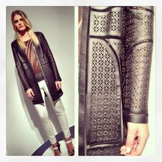 Elie Tahari Spring/Summer 2014 leather laser cut jacket.