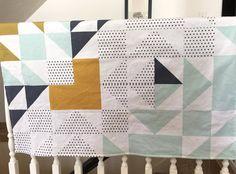 Mint black white navy minky baby blanket - gender neutral - geometric triangle cheater quilt - mustard olive gray nursery - baby shower gift