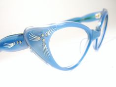 de424e4e226 Vintage Blue 50s Cat Eye Glasses Sunglasses Eyewear Frame France NOS.   124.00